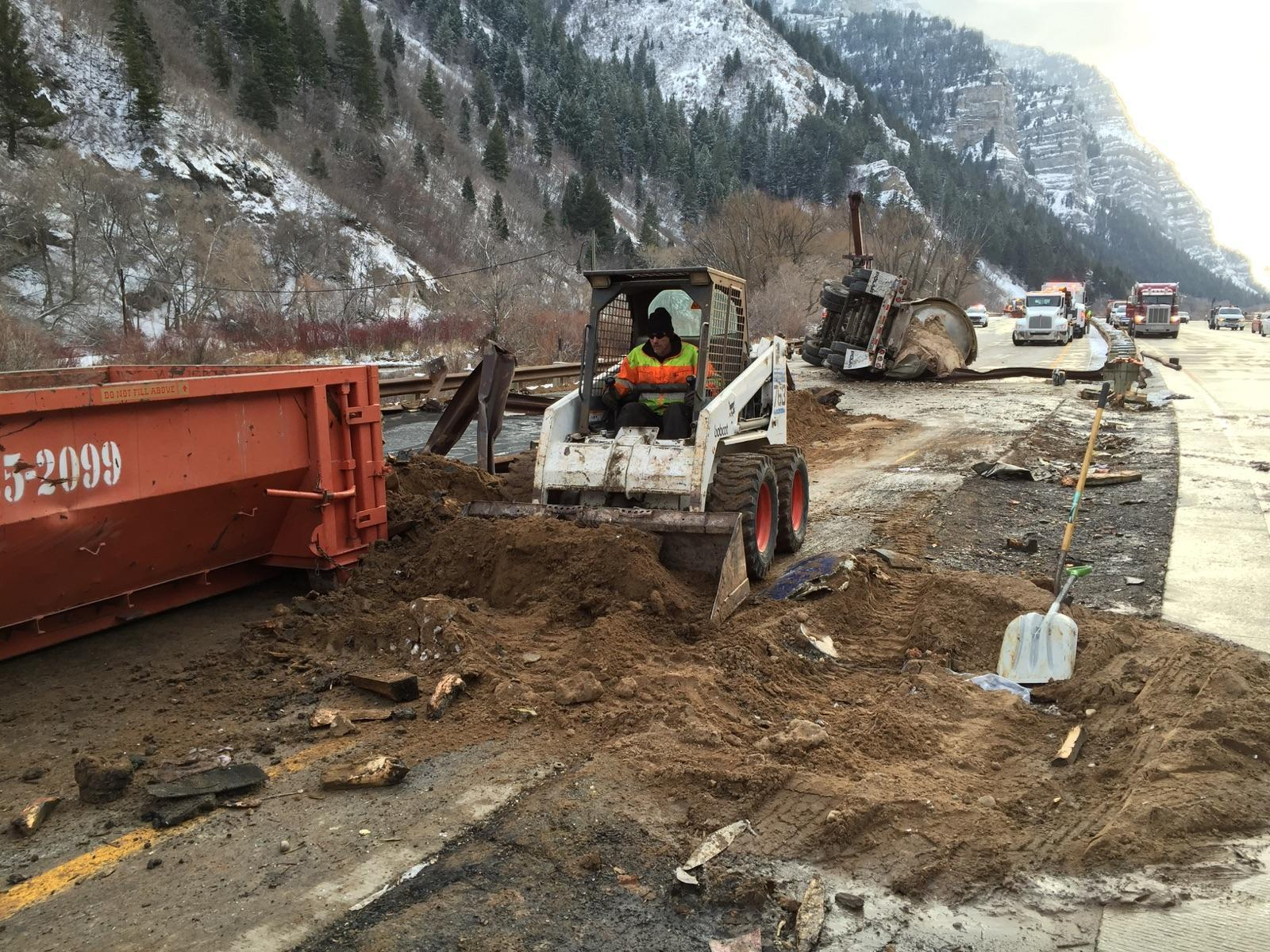 Cleanup efforts for the crude oil spill on Highway 189 in Provo Canyon.