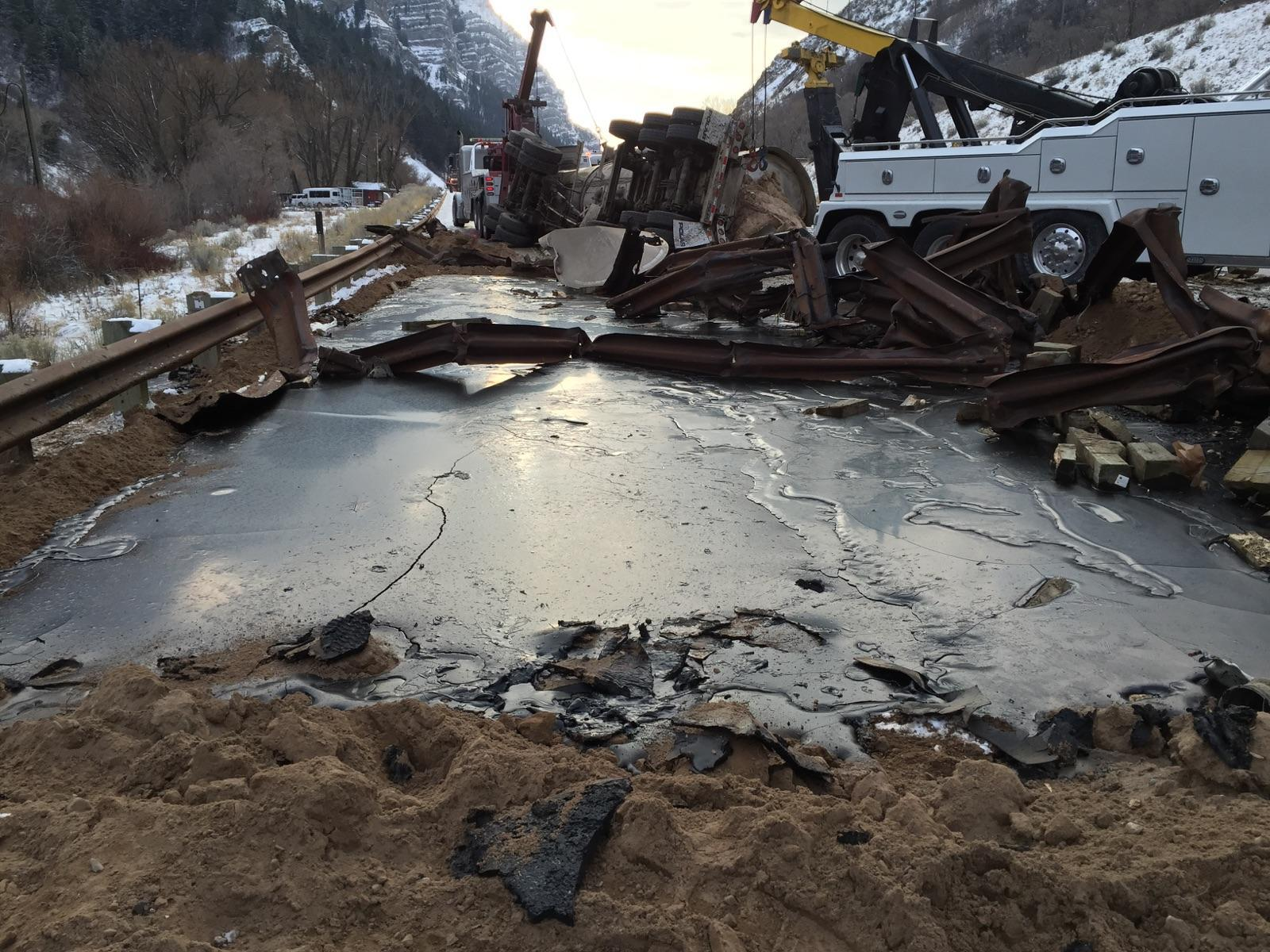 Crude oil spill on Highway 189 in Provo Canyon.