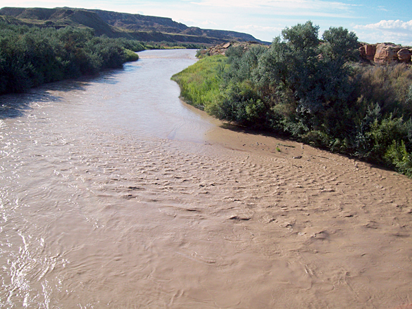 The normally turbid and muddy San Juan River, as seen on Aug. 9, 2015.