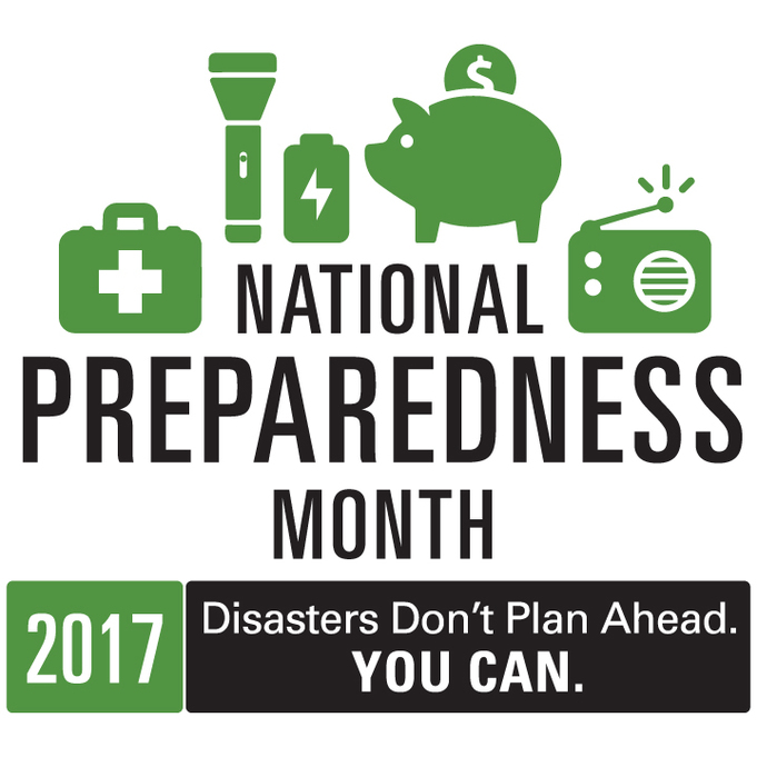 """national preparedness month logo with the text """"disasters don't plan ahead. You can."""""""