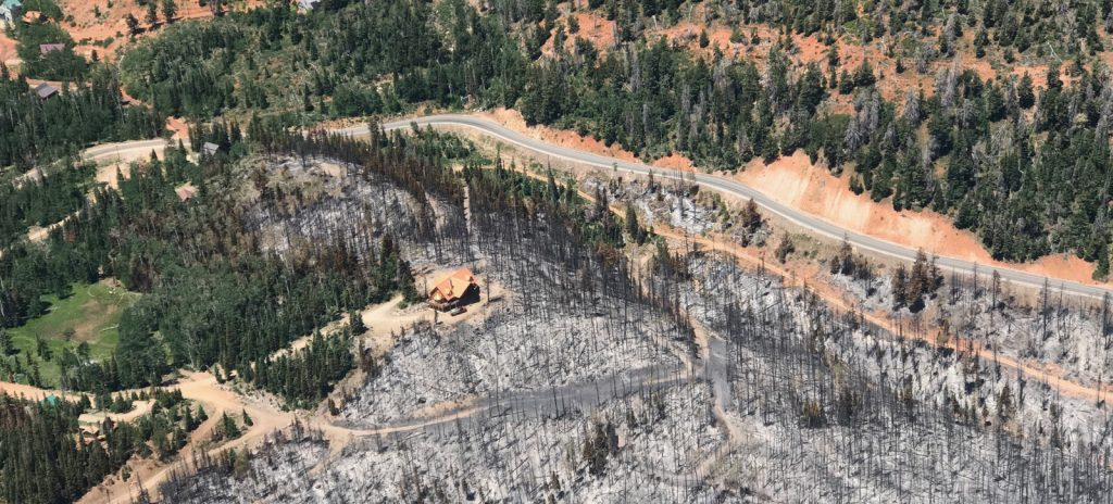 aerial view of a burned out area with a cabin that appears to have survived the fire