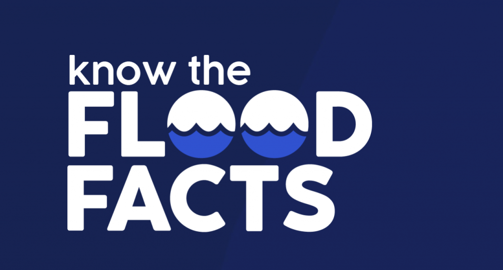 The flood facts logo, urging people to consider flood insurance by getting a quote.