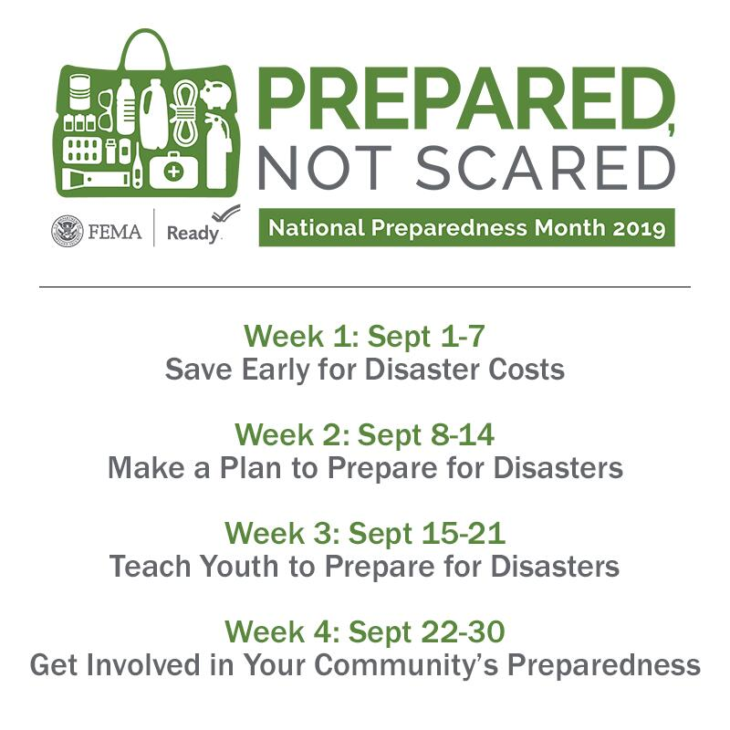 National preparedness month graphic for september week 1:  save early for disaster costs  Week 2: make a plan to prepare for disasters  Week 3: teach youth to prepare for disasters  Week 4: get involved in your community's preparedness