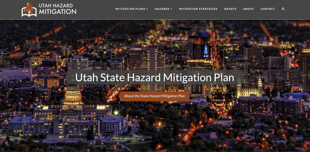 looking south toward Salt Lake City with the words Utah state hazard mitigation plan